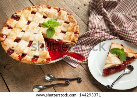 Strawberry and rhubarb pie - stock photo