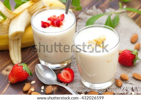 Strawberry banana milkshake made of fresh ingredients