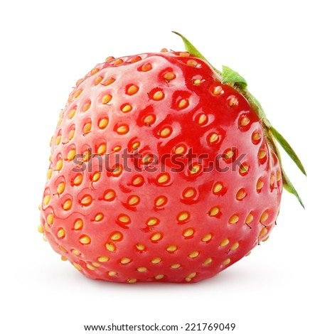 Strawberry berry isolated on white background with clipping path - stock photo