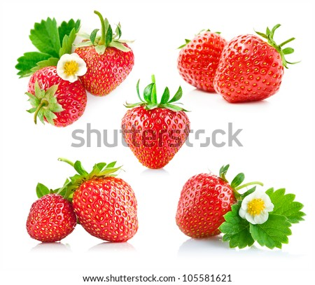 strawberry berry with green leaf and flower isolated on white background