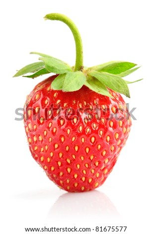 strawberry berry with green leaf isolated on white background - stock photo