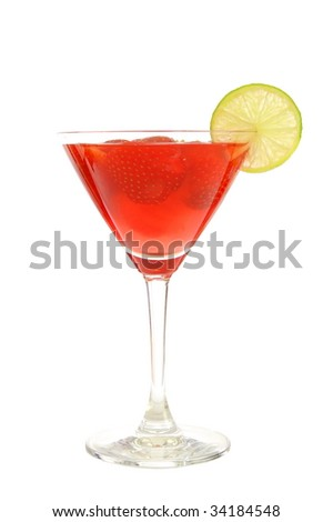 strawberry beverage in glass isolated on white background