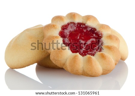 Strawberry biscuit on  white reflective background. - stock photo