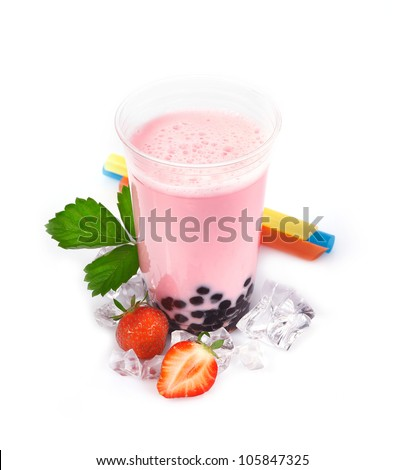 Strawberry Boba Bubble Tea with fruits and crushed ice. - stock photo