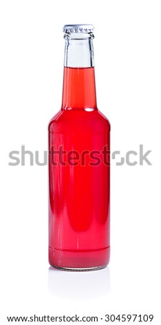 Strawberry bottle and glass. Isolated on white background