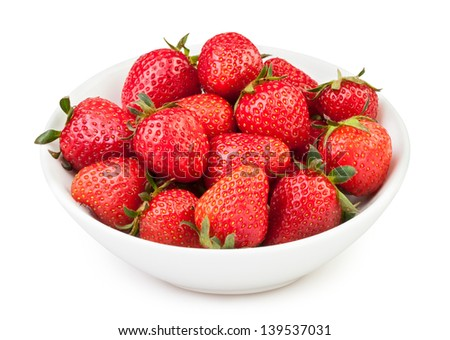 strawberry bowl on white background - stock photo