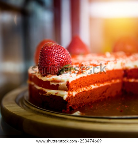 Strawberry cake close up. - stock photo