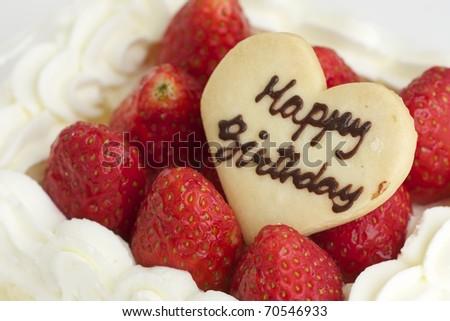 strawberry cake happy birthday - stock photo