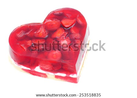 Strawberry cake in the shape of heart. - stock photo