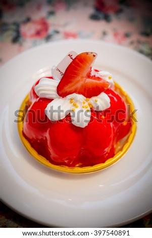 Strawberry cake.Shallow focus.   - stock photo