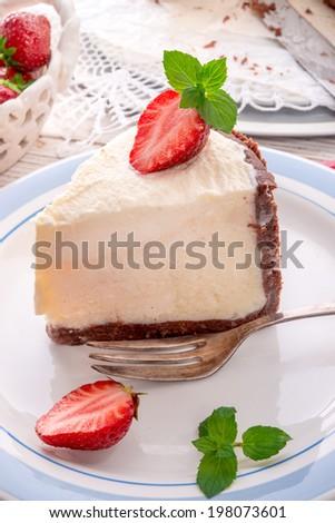 strawberry cheese cake - stock photo