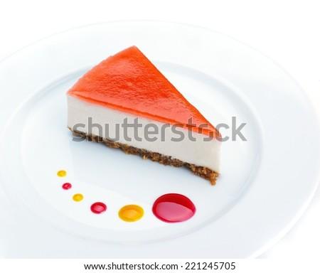 strawberry cheese cake isolated on white background - stock photo