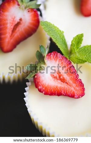 strawberry cheesecake and fresh berries - stock photo
