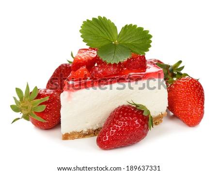 strawberry cheesecake on white background - stock photo