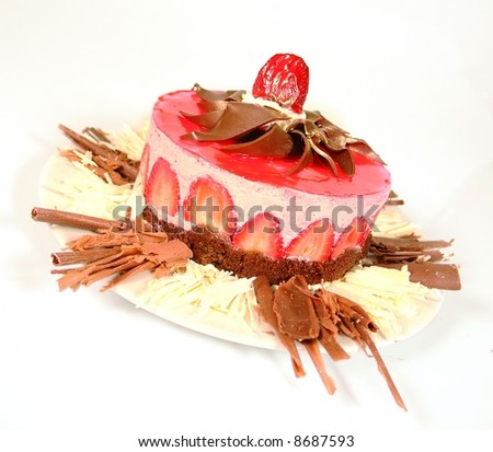 Strawberry cheesecake with chocolate - stock photo