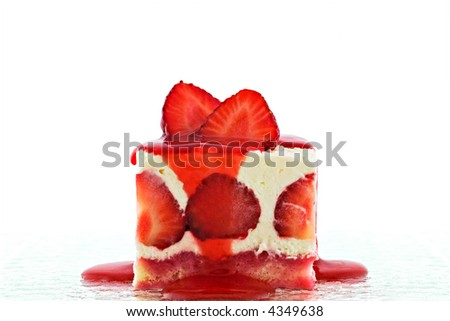 Strawberry cheesecake with topping. Isolated on white background - stock photo