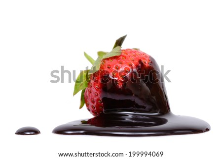 Strawberry chocolate dip isolated on white background