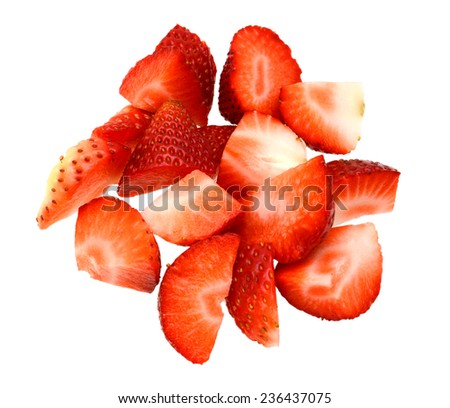 Strawberry chopped isolated  - stock photo
