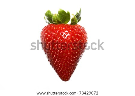 strawberry close up insolated on white background - stock photo