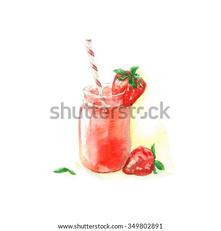 Strawberry Cocktail - Watercolor Food Collection - stock photo