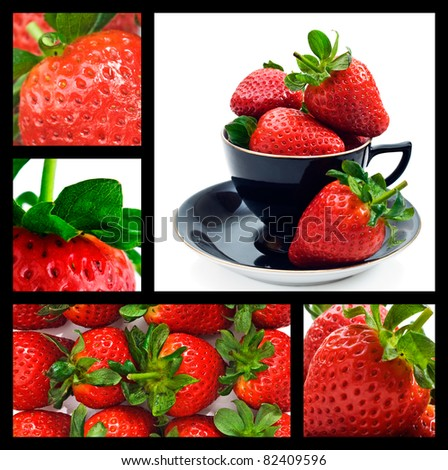 Strawberry collage - ripe fresh strawberries - stock photo