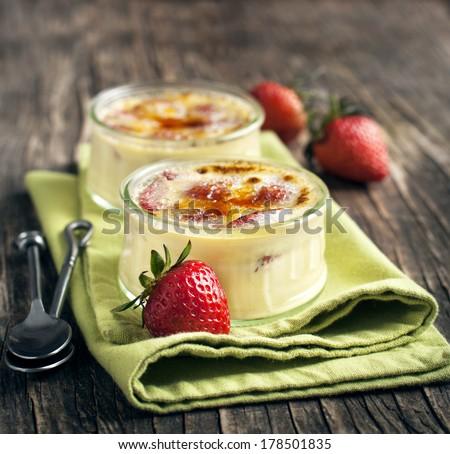 Strawberry Creme Brulee - stock photo