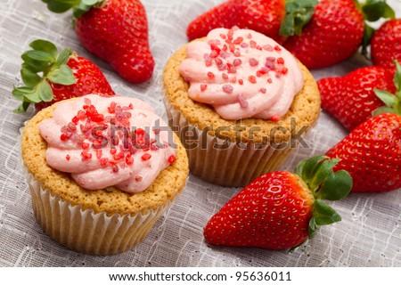 strawberry cupcake - stock photo