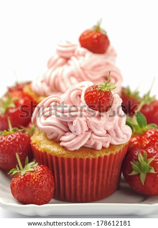 Strawberry cupcakes  - stock photo
