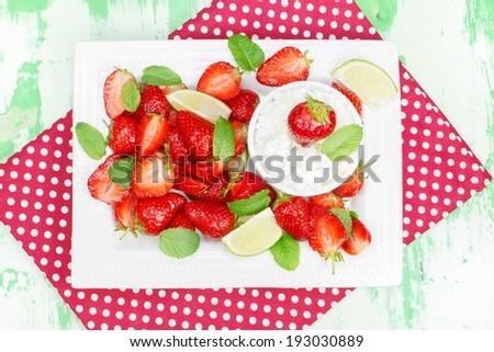Strawberry dessert. Macerated Strawberries with Mascarpone Whipped Cream - stock photo