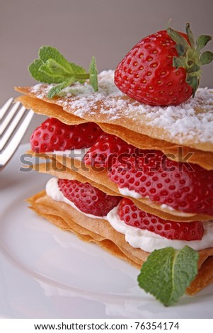 strawberry dessert, mille feuille - stock photo