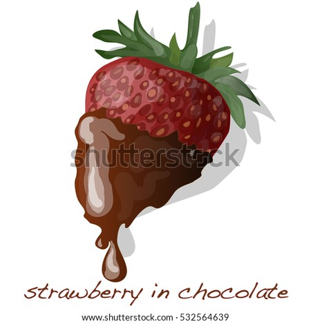 strawberry dipped in chocolate fondue isolated