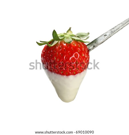 strawberry dipped in white chocolate fondue - stock photo