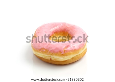 Strawberry donut isolated in white background - stock photo