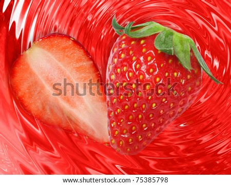 strawberry falls in own juice - stock photo