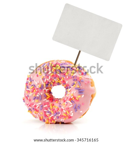 strawberry flavoured donut with price tag isolated on white - stock photo