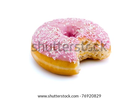 strawberry flavoured donut witha bite taken out isolated on white - stock photo