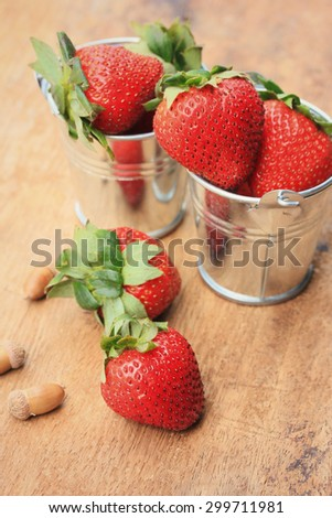 Strawberry fresh fruit on wooden vintage