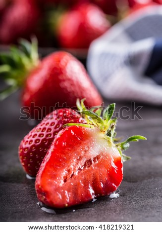 Strawberry. Fresh strawberry. Red strewberry. Strawberry Juice. Loosely laid strawberries in different positions. - stock photo