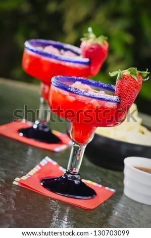 Strawberry Frozen Margaritas - stock photo