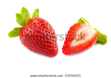 strawberry fruit and half cut with isolated white background - stock photo