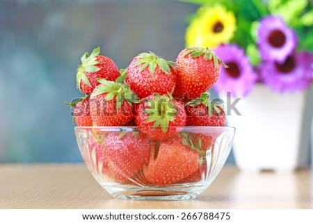 Strawberry. Fruits on white. CollectionRipe red strawberries on wooden table - stock photo