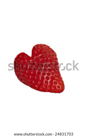 Strawberry heart on white background - stock photo