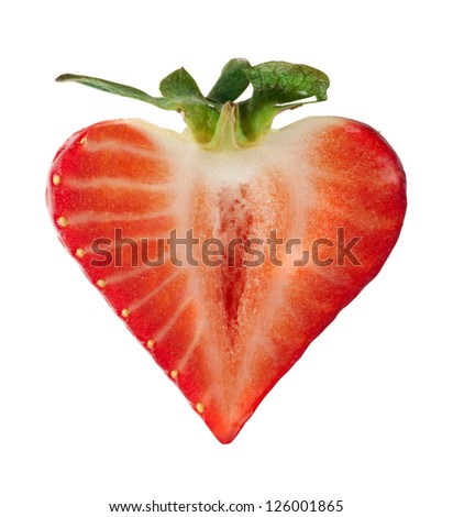 Strawberry heart shape white isolated. Valentine heart. - stock photo