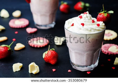 Strawberry hot white chocolate with whipped cream and strawberries. toning. selective Focus - stock photo
