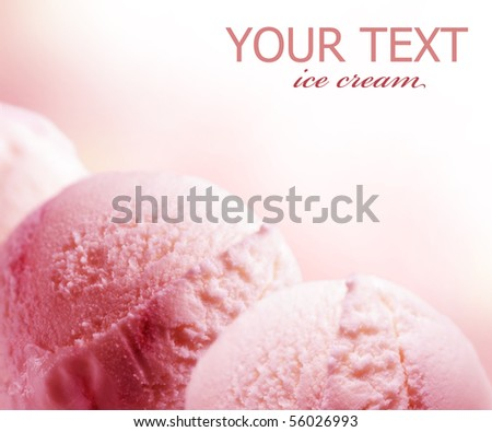 Strawberry Ice Cream border - stock photo