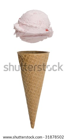 Strawberry ice cream cone with scoop floating above cone - stock photo
