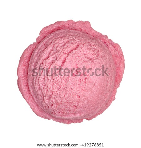 Strawberry ice cream scoop from top including clipping path - stock photo