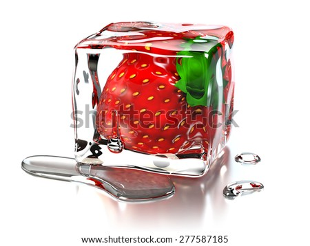 Strawberry Ice Cube - stock photo