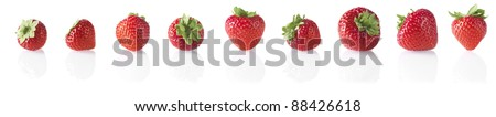 Strawberry in a row - stock photo