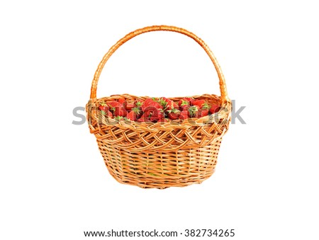 Strawberry in a wattled basket, isolated on a white background